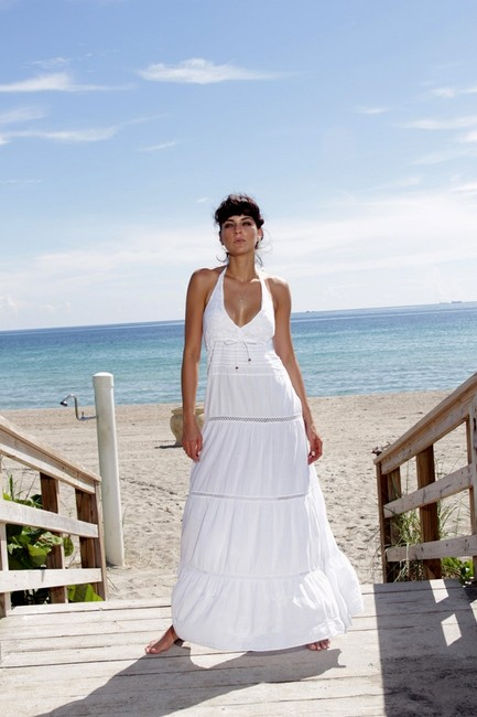 White Maxi Dress by Lirome Boho Crochet Embroidered Summer Sundress