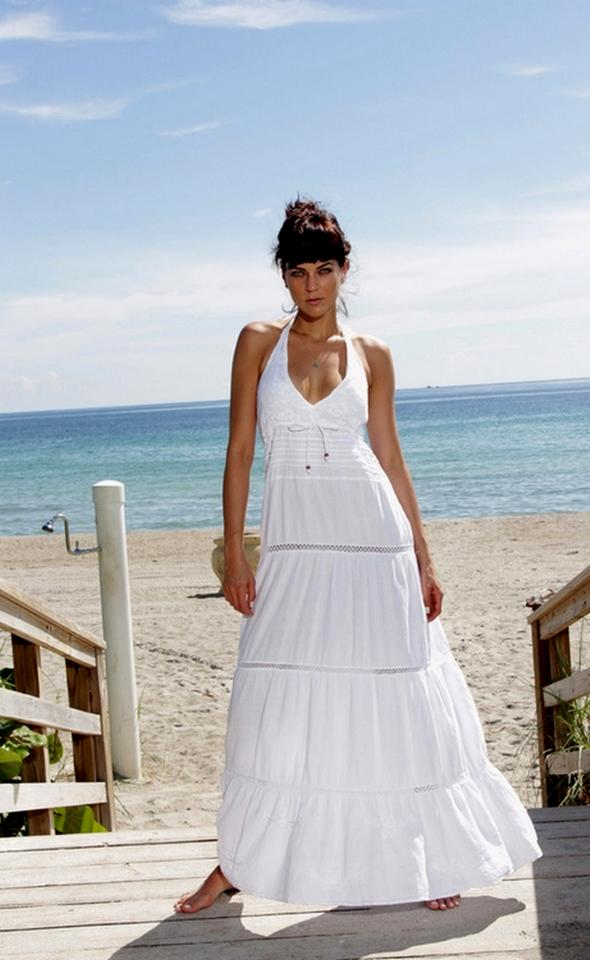 2f0835d5f96c White Maxi Dress by Lirome Boho Crochet Embroidered Sundress Wedding Image  7. 12345678