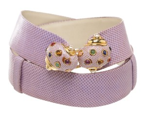 Judith Leiber Judith Leiber Pink Lizard Jeweled Embellished Buckle Belt