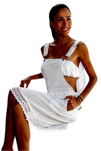 Lirome short dress White Country Cottage Chic Embroidered Crochet on Tradesy