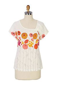 Anthropologie T Shirt White, Orange, Red, Yellow, Pink
