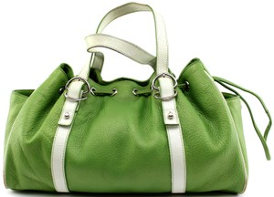 Kenneth Cole Pebbled Vintage Leather Tote in Green, White