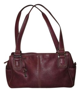 Fossil Leather Satchel in plum