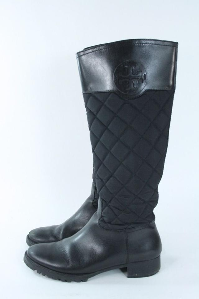 e0925704b7e Tory Burch Black Quilted Nylon Leather Riding Boots Booties Size US ...