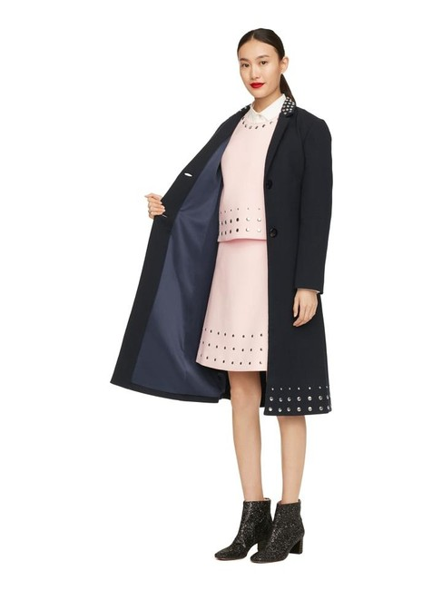 Item - Navy Blue Madison Avenue Collection Wool Studded Trench Jacket Coat Size 4 (S)