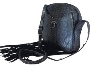 Folli Follie Blue Metallic Reptile Fringe Cross Body Bag