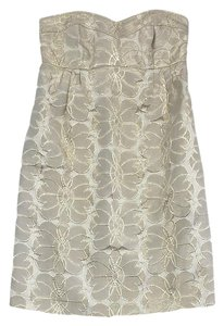 Shoshanna short dress Gold Metallic Floral Strapless on Tradesy