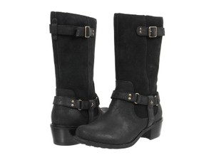 UGG Australia Burnished Suede Metal Buckle Full Side Zipper Textile Lining Cushioned Black Boots