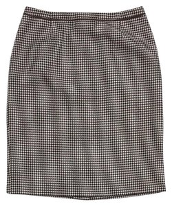 Escada Houndstooth Wool Pencil Skirt Brown