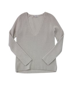 Helmut Lang Taupe Knit V-neck Sweater