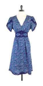 Betsey Johnson short dress Blue Paisley Silk on Tradesy