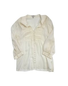 Joie Cream Silk Shirred Button Up Top