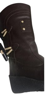 Burberry Wedge Leather Brown Boots
