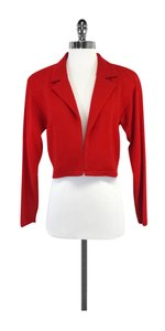 St. John Red Knit Cropped Blazer