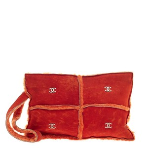 Chanel Suede Orange Clutch