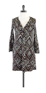 Diane von Furstenberg short dress Brown White Geo Print Silk on Tradesy