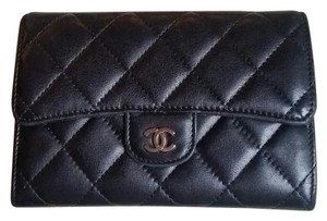 Chanel CC Quilted Bifold Wallet in Black Lambskin Leather