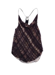 Haute Hippie Brown Snakeskin Print Silk Top