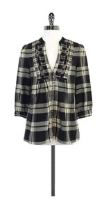 Joie Black Cream Plaid Cotton Sweatshirt