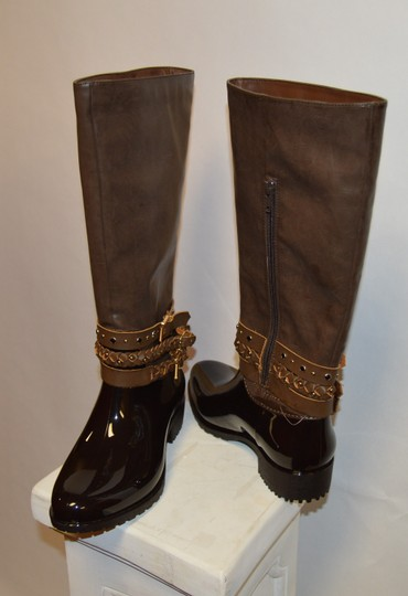 Other Faux Patent Monogram Brown Boots
