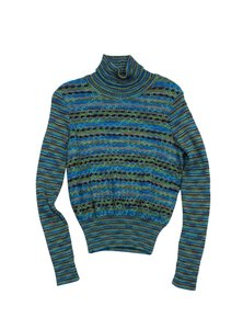 Missoni Blue Green Knit Striped Turtleneck Sweater