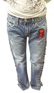 American Eagle Outfitters Reaper Small Safetypin Pinitfashions Straight Leg Jeans-Distressed