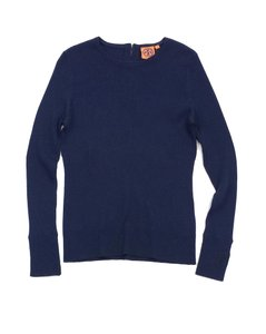 Tory Burch Navy Ribbed Wool Sweater