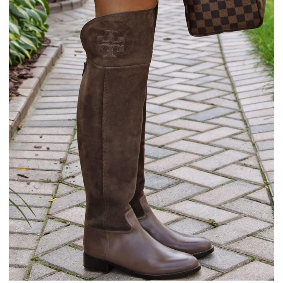 eb0e93e26ee3 Tory Burch Weathered Brown Simone Over The Knee Boots Booties Size US 6  Regular (M