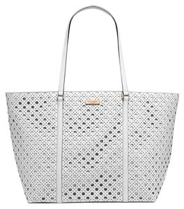 Kate Spade Newbury Lane Caining French Navy Tote in wHITE