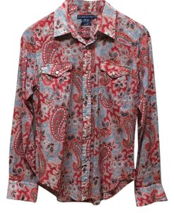 Ralph Lauren Button Down Shirt Blue and Red