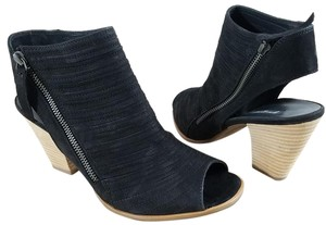 Paul Green Leather Asymmetrical Zipper Open-heel Peep Toe Stitched Leather Black Nubuck Sandals