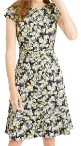 J.Crew Modern Clover Print Flouncy Skirt Cap Sleeve Dress