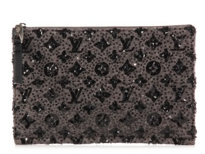 Louis Vuitton Taupe Lv Lv.k0928.11 Gray Sequined Clutch