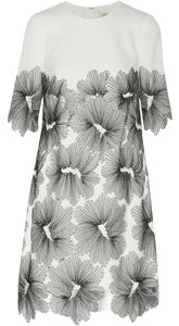 Lela Rose Lace Shift Crepe Party Embroidered Dress