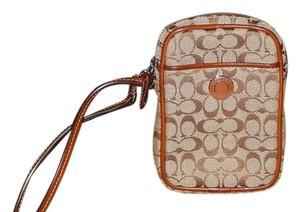 Coach Baguette Mini C Signature Leather Jacquard Wristlet in Brown and Khaki