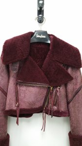 Roberto Cavalli 100% Leather Italy Wine Color Buckles BURGANDY Leather Jacket