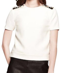 Kate Spade Crop Embellished Fashionable Stretch Top White