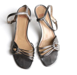 Charles Jourdan Pewter Heels Strappy Sandals