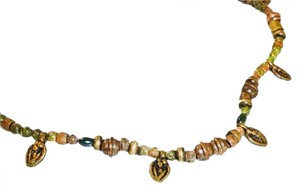 MUSEUM REPRODUCTION VINTAGE ETRUSCAN UNAKITE-MIXED METALS AMULET NECKLACE-16