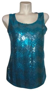 Coldwater Creek Sequin Party Club Sparkle Top Teal