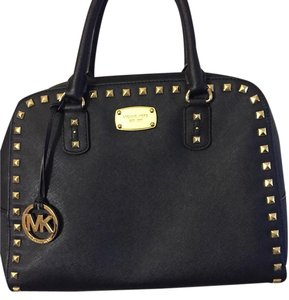 Michael Kors Studded Leather Saffiano Gold Hardware Shoulder Bag