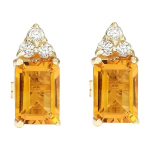 Fashion Strada 2.65 Carat Natural Citrine And Diamond Earrings 14k Solid Yellow Gold