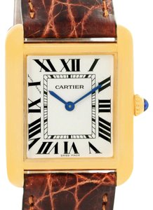 Cartier Cartier Tank Solo Small Yellow Gold Steel Brown Strap Watch W1018755