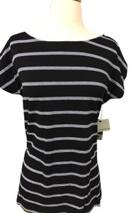 Liz Claiborne T Shirt Black & White stripe
