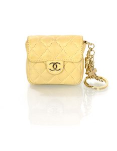 Chanel Chanel Beige Quilted Mini Flap Bag Key Ring
