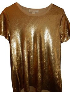 Michael Kors Sequin Party Holiday Top Gold