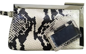 Calvin Klein Clutch Snakeskin Wristlet in Black / Cream