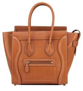 Céline Luggage Micro Luggage Tote in Natural Tan Calfskin Celine