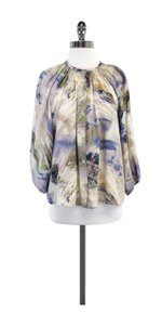 Tucker Abstract Print Silk Top Beige Multi
