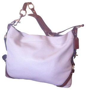 Coach Carley Carly Large Leather Satchel in Ivory, Brown